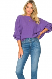 American Vintage |  Knitted sweater with boat neck Nizy | purple  | Picture 5
