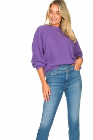 American Vintage |  Knitted sweater with boat neck Nizy | purple  | Picture 2