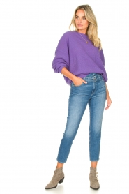 American Vintage |  Knitted sweater with boat neck Nizy | purple  | Picture 3