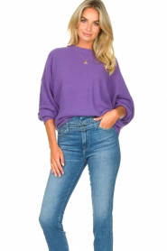 American Vintage |  Knitted sweater with boat neck Nizy | purple  | Picture 4