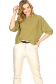 American Vintage | Gebreide sweater Razpark | groen   | Afbeelding 2