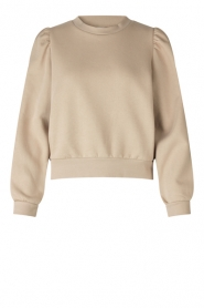 Second Female |  Cotton sweater with puff sleeves Carmella | beige  | Picture 1