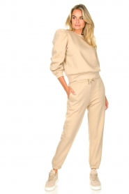 Second Female |  Cotton sweater with puff sleeves Carmella | beige  | Picture 3