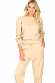 Second Female |  Cotton sweater with puff sleeves Carmella | beige  | Picture 2