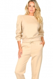 Second Female |  Cotton sweater with puff sleeves Carmella | beige  | Picture 4
