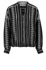 Aaiko |  Cotton blouse with aztec print Gilaine | black  | Picture 1