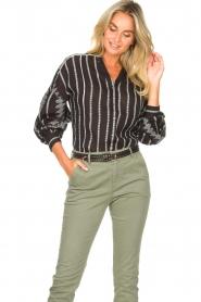 Aaiko |  Cotton blouse with aztec print Gilaine | black  | Picture 5