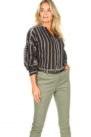 Aaiko |  Cotton blouse with aztec print Gilaine | black  | Picture 4