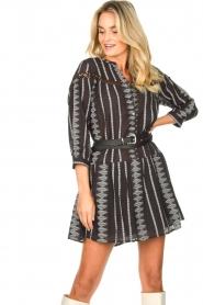 Aaiko |  Cotton dress with aztec print Gylian | black  | Picture 4