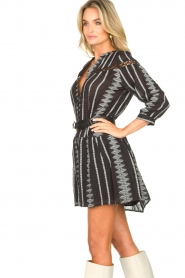 Aaiko |  Cotton dress with aztec print Gylian | black  | Picture 6