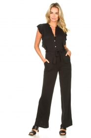 Aaiko |  Jumpsuit with ruffles Mailina | black  | Picture 2