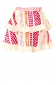 Devotion |  Cotton ruffle skirt with print Bali | pink  | Picture 1