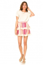 Devotion |  Cotton ruffle skirt with print Bali | pink  | Picture 3