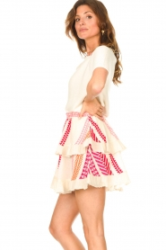 Devotion |  Cotton ruffle skirt with print Bali | pink  | Picture 5