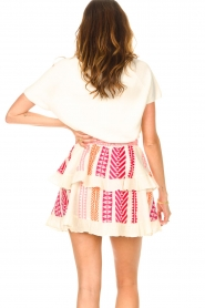 Devotion |  Cotton ruffle skirt with print Bali | pink  | Picture 6
