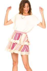 Devotion |  Cotton ruffle skirt with print Bali | pink  | Picture 2