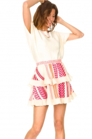 Devotion |  Cotton ruffle skirt with print Bali | pink  | Picture 4