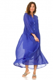 Devotion |  Cotton maxi dress Bella | blue  | Picture 4