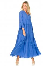 Devotion |  Cotton maxi dress Roos | blue  | Picture 3