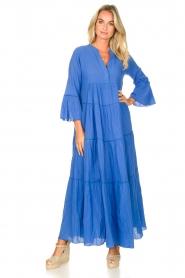 Devotion |  Cotton maxi dress Roos | blue  | Picture 2