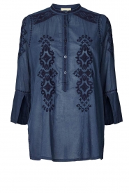 Lolly's Laundry |  Blouse with embroided details | blue  | Picture 1