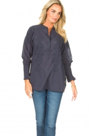 Lolly's Laundry |  Blouse with embroided details | blue  | Picture 2