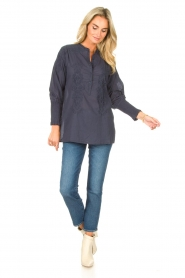 Lolly's Laundry |  Blouse with embroided details | blue  | Picture 3
