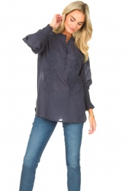 Lolly's Laundry |  Blouse with embroided details | blue  | Picture 4
