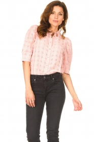 Lolly's Laundry |  Checkered blouse Bono | pink  | Picture 4