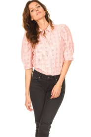 Lolly's Laundry |  Checkered blouse Bono | pink  | Picture 5