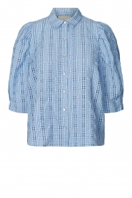 Lolly's Laundry |  Checkered blouse Bono | blue  | Picture 1