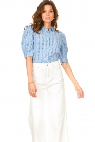 Lolly's Laundry |  Checkered blouse Bono | blue  | Picture 5