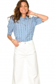 Lolly's Laundry |  Checkered blouse Bono | blue  | Picture 2