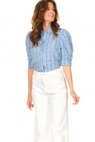 Lolly's Laundry |  Checkered blouse Bono | blue  | Picture 4