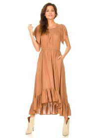 Lolly's Laundry |  Midi dress with dotted print Flora | brown  | Picture 2