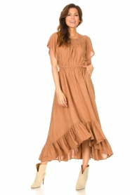Lolly's Laundry |  Midi dress with dotted print Flora | brown  | Picture 3