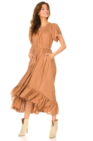 Lolly's Laundry |  Midi dress with dotted print Flora | brown  | Picture 5