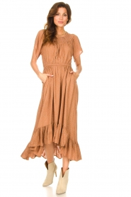 Lolly's Laundry |  Midi dress with dotted print Flora | brown  | Picture 4