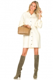 STUDIO AR |  Leather puffer shoulder bag Fiona | beige  | Picture 2