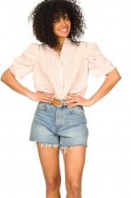 Aaiko | Gestreepte blouse Taciana | roze  | Afbeelding 2