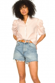 Aaiko | Gestreepte blouse Taciana | roze  | Afbeelding 4