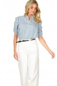 Aaiko |  Striped blouse Taciana | blue  | Picture 4