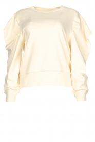 Aaiko |  Cotton sweater with puff sleeves Sasha | ecru  | Picture 1