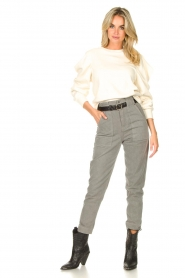 Aaiko |  Cotton sweater with puff sleeves Sasha | ecru  | Picture 3