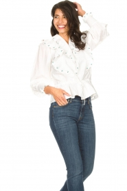 Notes Du Nord |  Cotton blouse with ruffles Tenna | white  | Picture 4