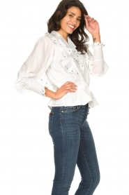 Notes Du Nord |  Cotton blouse with ruffles Tenna | white  | Picture 5