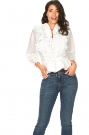 Notes Du Nord |  Cotton blouse with ruffles Tenna | white  | Picture 2