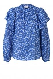 Second Female | Katoenen blouse met ruches Dayly | blauw  | Afbeelding 1