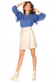 Second Female | Katoenen blouse met ruches Dayly | blauw  | Afbeelding 3
