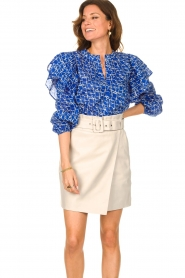 Second Female | Katoenen blouse met ruches Dayly | blauw  | Afbeelding 4